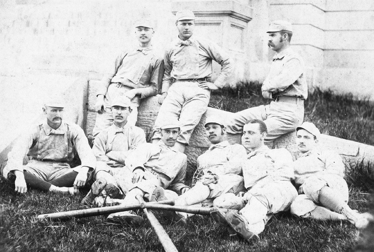 Walker (bottom row, third from right) on his 1882 University of Michigan team (Courtesy: Howard W. Rosenberg/Cap Anson 4)