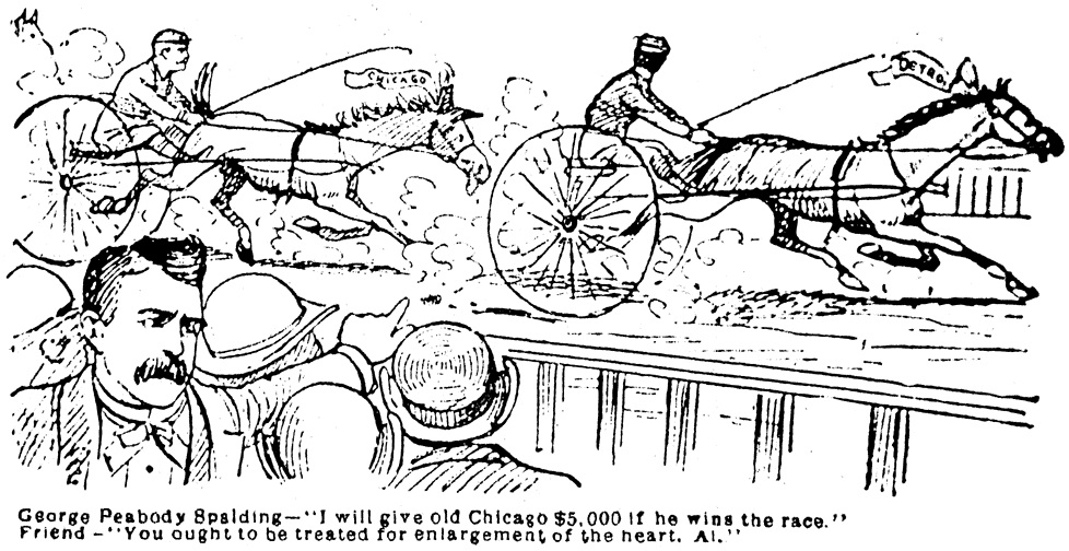 Chicago President Spalding being poked fun at by a Chicago newspaper for one of his comments during a pennant race; Anson, for his penchant for boasting, presented an easy target too (Courtesy: Howard W. Rosenberg/Cap Anson 1)
